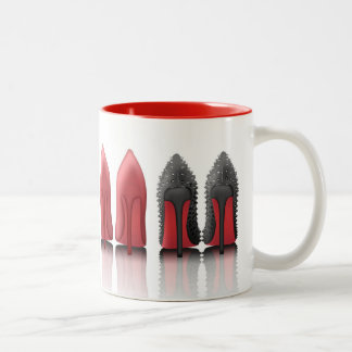 Red bottoms stilettos in leopard, black, studded Two-Tone coffee mug