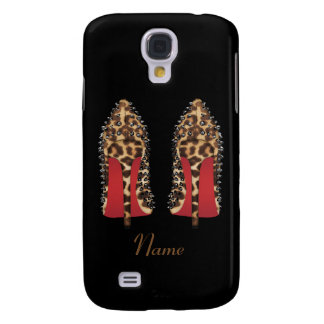 Red bottoms stilettos in leopard with Name, Xmas Galaxy S4 Case