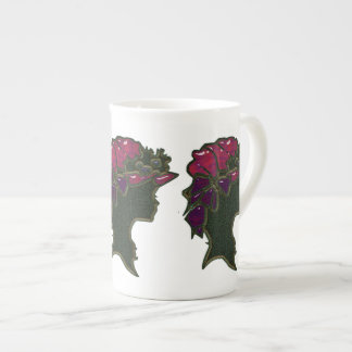 Red Bouffant Hat Cameo Bone China Mug