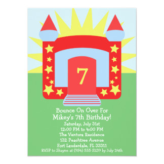 Red Bounce On Over Bounce House Birthday Party Card