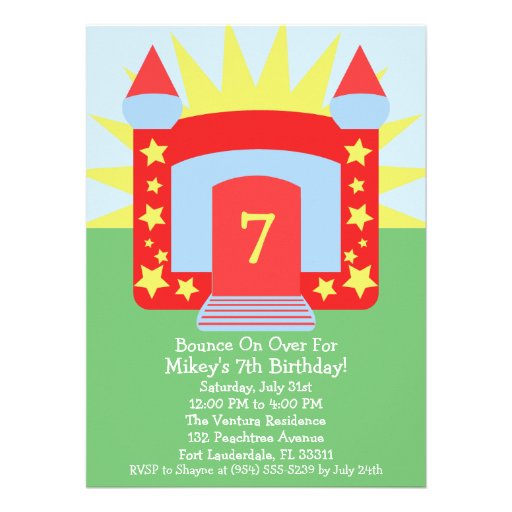 Red Bounce On Over Bounce House Birthday Party Custom Announcements