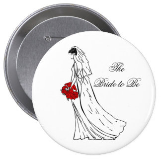 Red Bouquet Bride to Be 10 Cm Round Badge