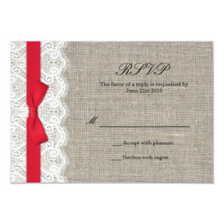 Red Bow and Lace Wedding Responce Card 9 Cm X 13 Cm Invitation Card