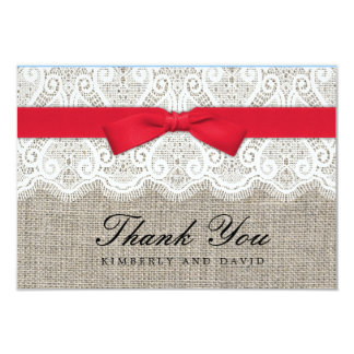 Red Bow and Lace Wedding Thank You Card Announcements