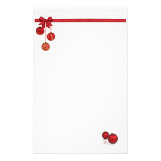 Red Bow and Ornament Stationery