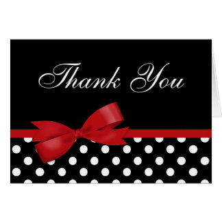 Red Bow Black Polka Dots Thank You Greeting Card