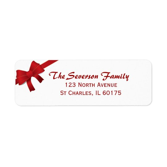 Red Bow Christmas Holiday Return Address