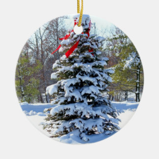 Red Bow Evergreen Christmas Ornament