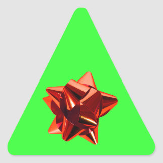 Red Bow, Gift, Holiday Triangle Sticker