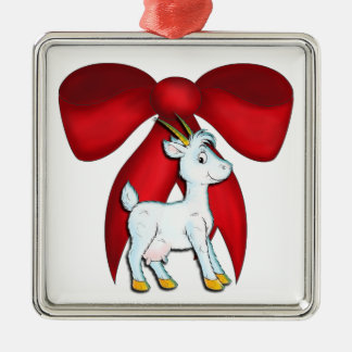 Red Bow Goat Ornament