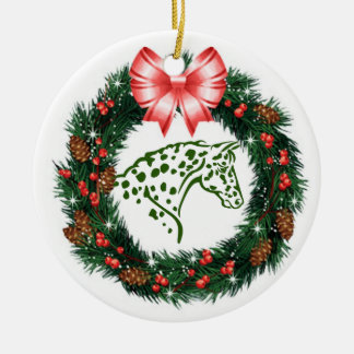 RED BOW GREEN APPALOOSA CHRISTMAS ORNAMENT
