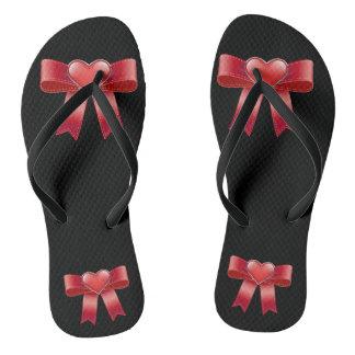 Red bow & Heart Black Adult, Slim Straps Flip Flops