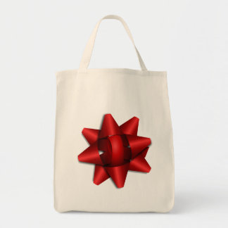 red bow holiday gift ribbon party shower office canvas bag