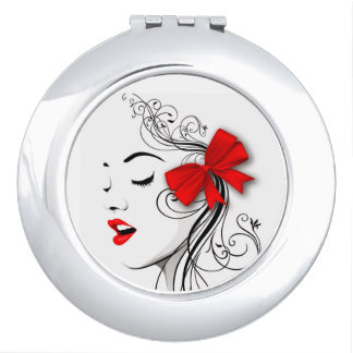 Red bow makeup mirror
