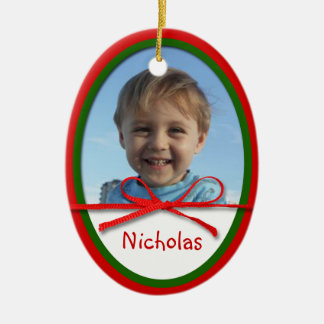 Red Bow Photo Oval Ceramic Christmas Ornament