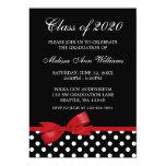 Red Bow Polka Dots Graduation Announcement 13 Cm X 18 Cm Invitation Card