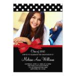 Red Bow Polka Dots Photo Graduation Announcement 13 Cm X 18 Cm Invitation Card