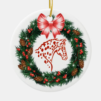 RED BOW RED & GREEN APPALOOSA CHRISTMAS ORNAMENT
