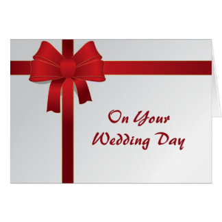 Red Bow Second Wedding Card