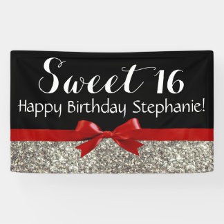 Red Bow Silver Glitter Sweet 16 Birthday Party