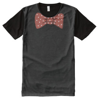 Red Bow Tie Print with White Polka Dot Pattern All-Over Print T-Shirt