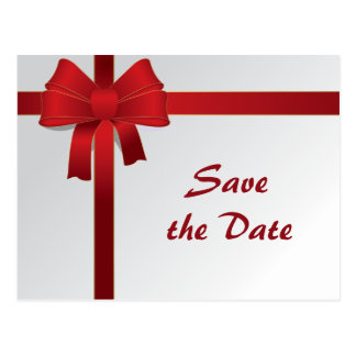 Red Bow Winter Wedding Save the Date Postcard