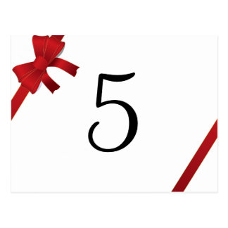 Red Bow Winter Wedding Table Number Post Cards