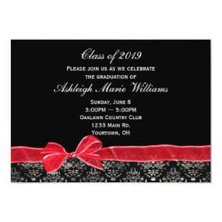 Red Bow with Damask Border for Grad 13 Cm X 18 Cm Invitation Card