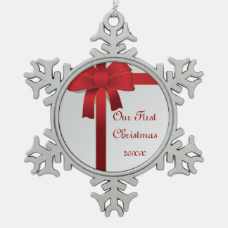 Red Bows 1st Christmas Together Snowflake Pewter Christmas Ornament
