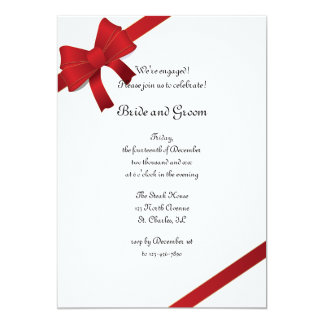 Red Bows Winter Engagement Party Invitation