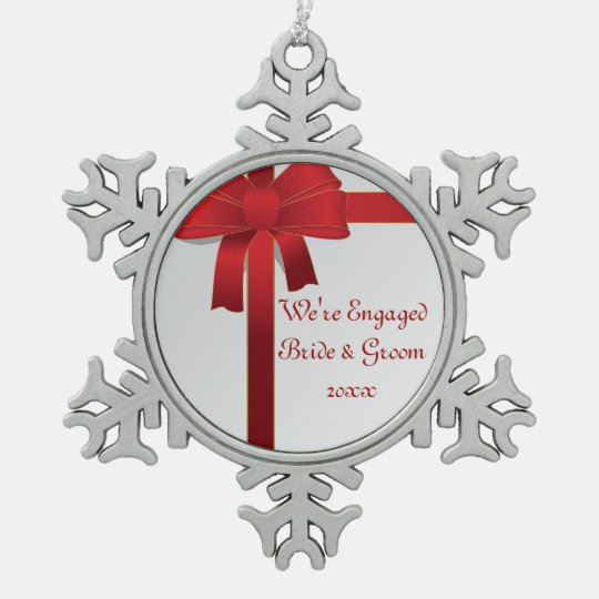 Red Bows Winter Engagement Snowflake Pewter Christmas Ornament