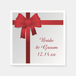 Red Bows Winter Wedding Disposable Serviettes