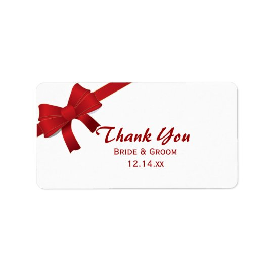 Red Bows Winter Wedding Thank You Favour Tags