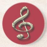 Red & Brass Treble Clef Music Coaster
