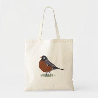 Red Breasted American Robin Digitally Drawn Bird Budget Tote Bag