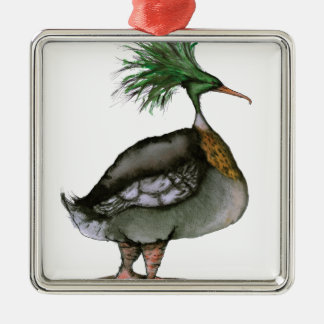 Red Breasted Merganser, tony fernandes Silver-Colored Square Decoration