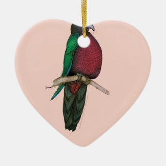 red breasted parrot, tony fernandes ceramic heart decoration