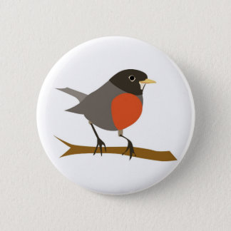 Red Breasted Robin on Branch 6 Cm Round Badge