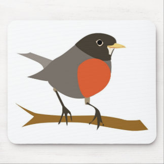 Red Breasted Robin on Branch Mouse Pad