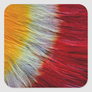 Red Breasted Toucan Feather Abstract Square Sticker