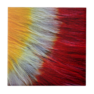 Red Breasted Toucan Feather Abstract Tile