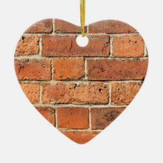 Red brick wall ceramic heart decoration