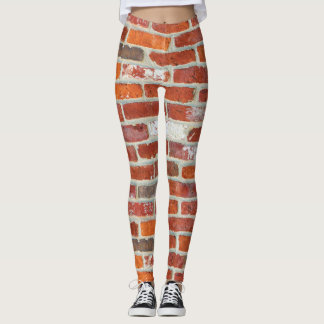 Red Brick Wall Pattern Leggings