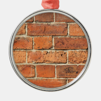 Red brick wall Silver-Colored round decoration