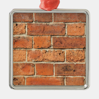 Red brick wall Silver-Colored square decoration