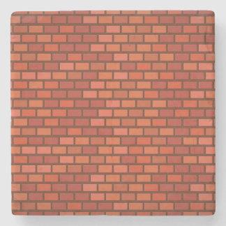 Red brick wall stone coaster