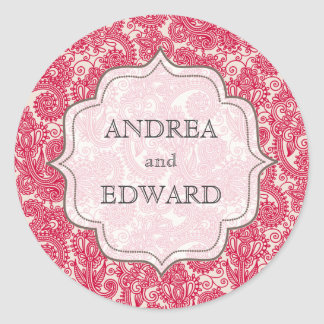Red Bride & Groom Names Paisley Sticker Tag Label
