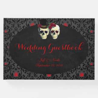 Red Bride Groom Skulls Wedding Guest Book