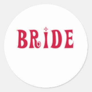Red Bride Round Sticker