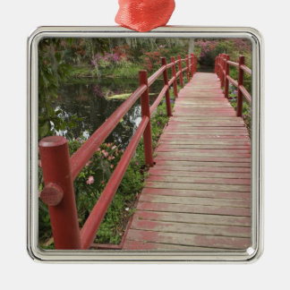 Red bridge over pond, Magnolia Plantation, Silver-Colored Square Decoration